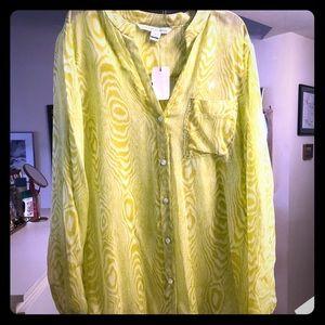 DVF Silk Zebra Yellow Blouse Size 6